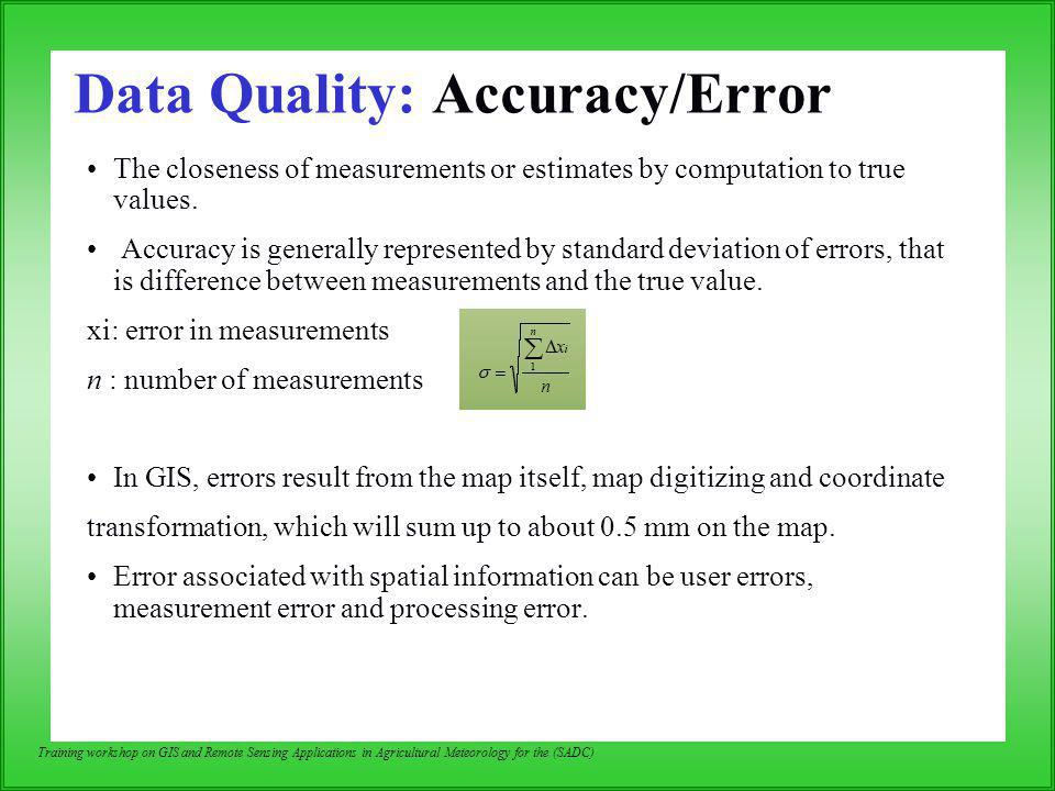 Data Quality: Accuracy/Error