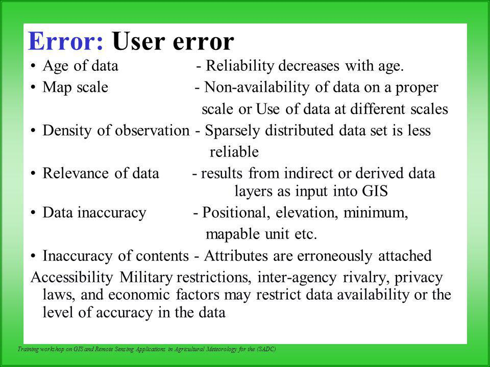 Error: User error Age of data - Reliability decreases with age.
