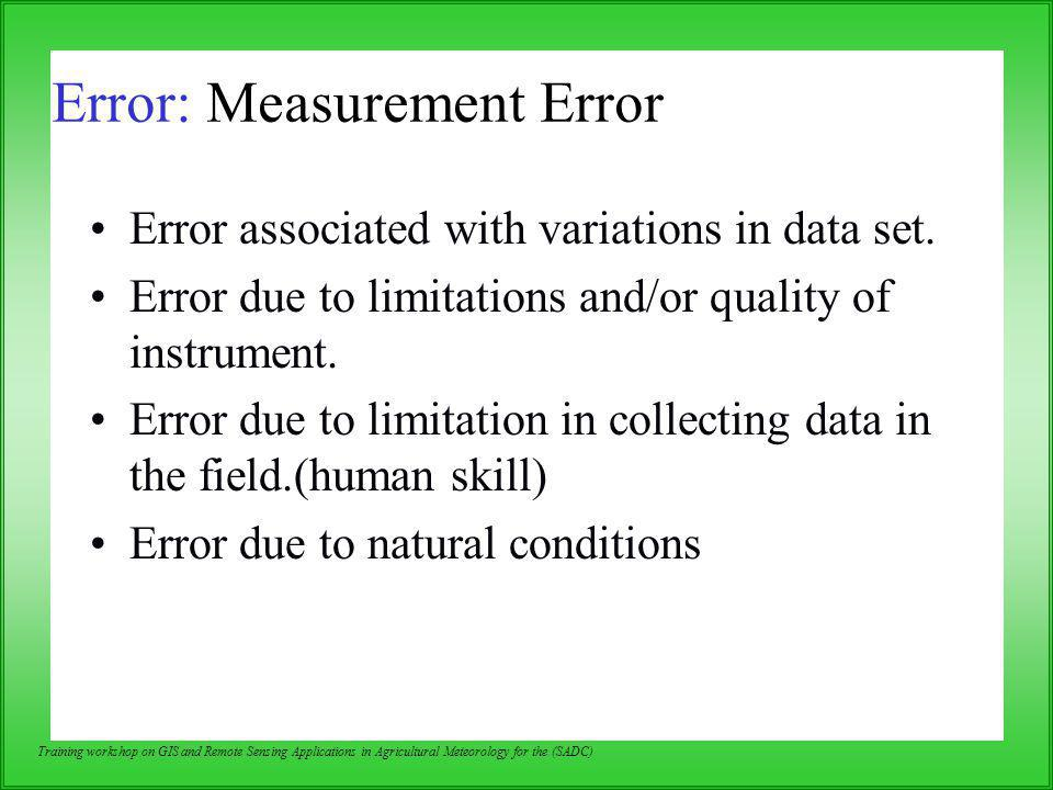 Error: Measurement Error