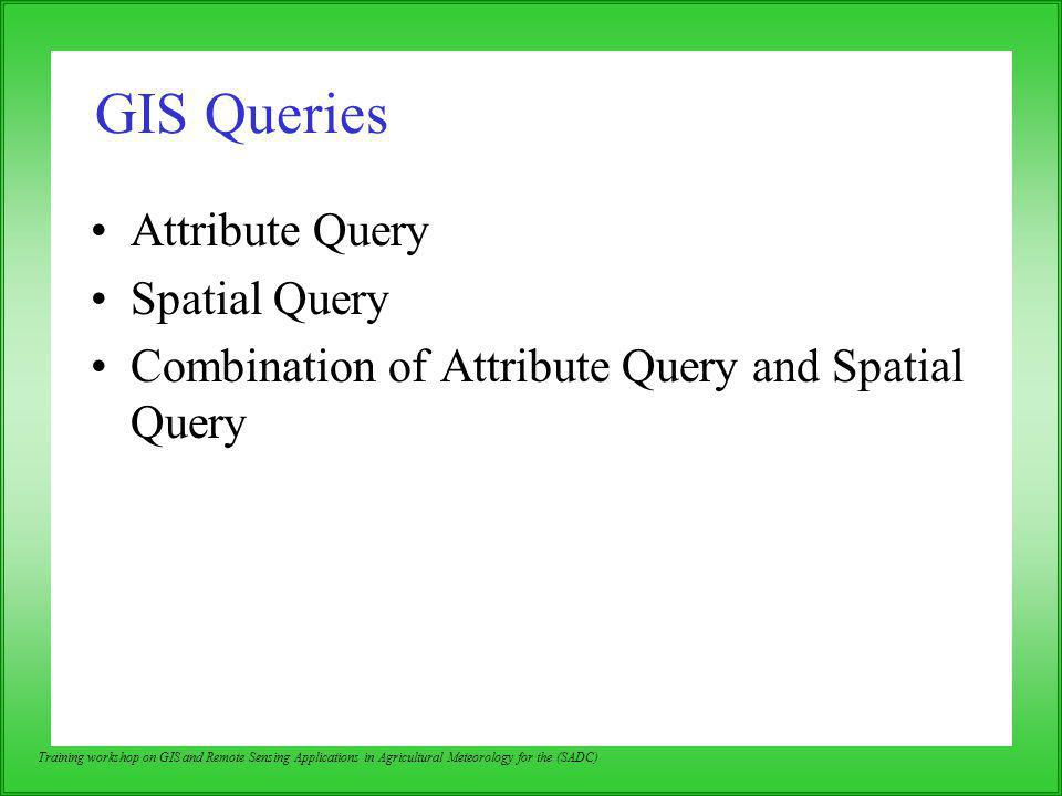 GIS Queries Attribute Query Spatial Query