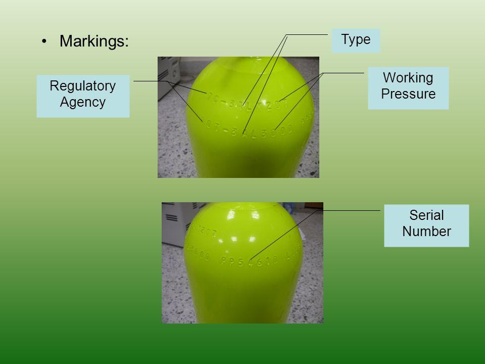 Markings: Type Working Pressure Regulatory Agency Serial Number