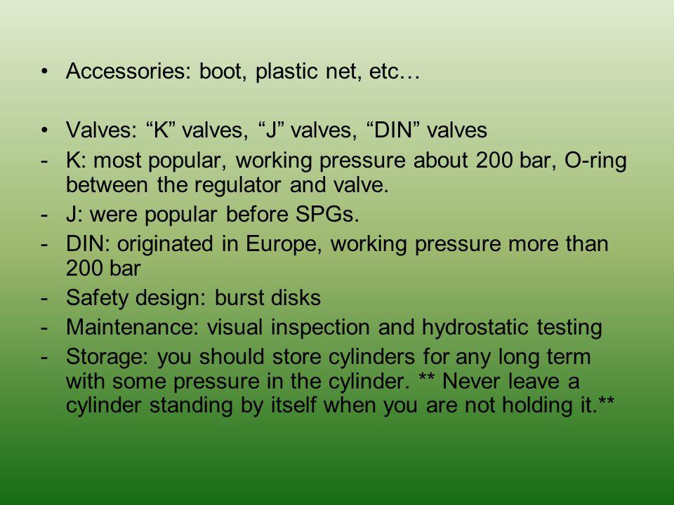 Accessories: boot, plastic net, etc…