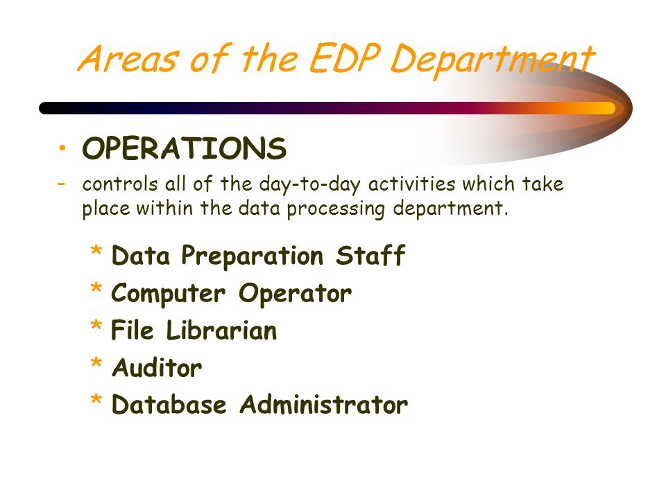 Areas of the EDP Department