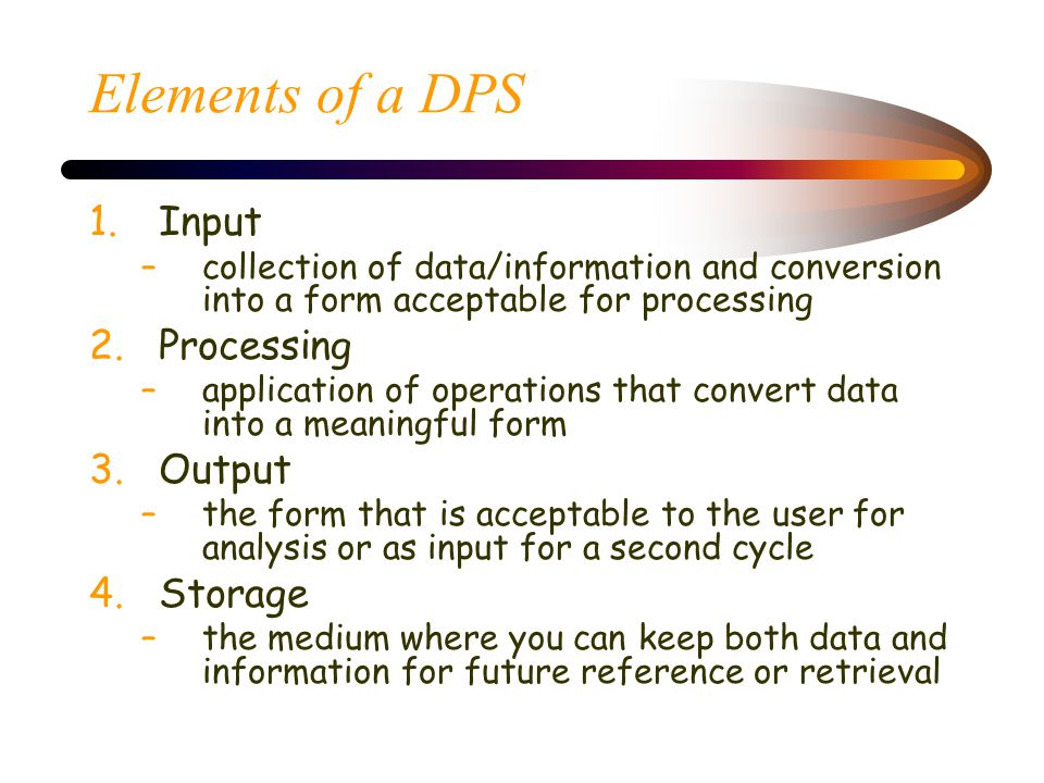 Elements of a DPS Input Processing Output Storage