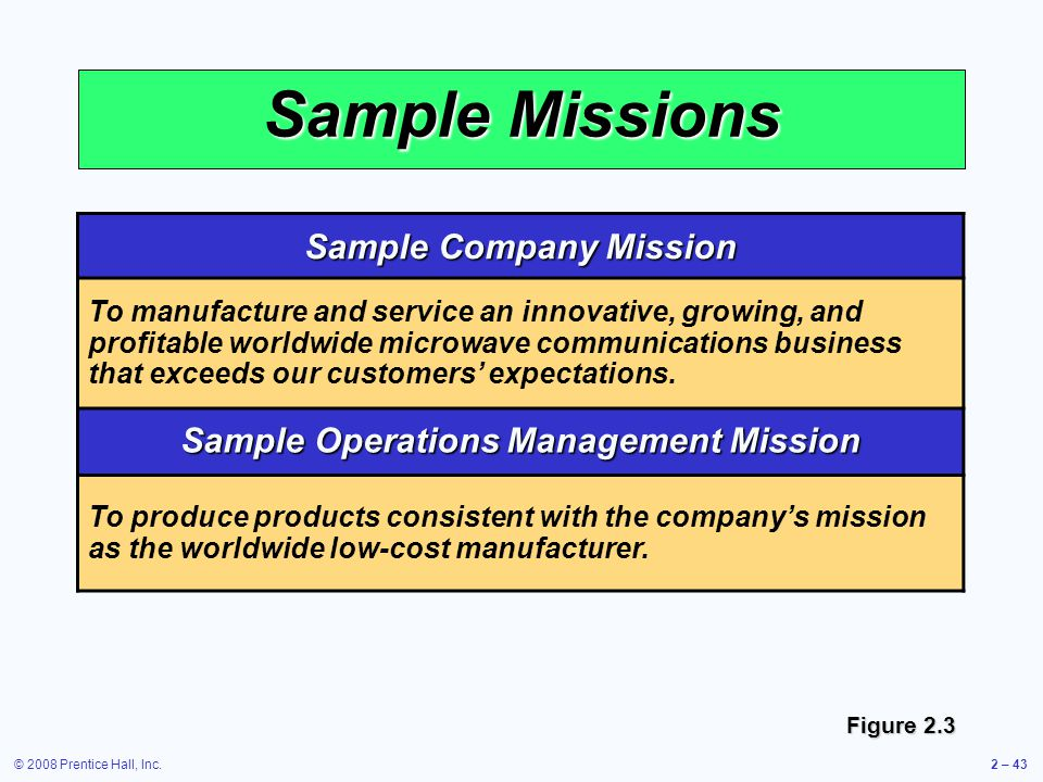 Sample Company Mission Sample Operations Management Mission