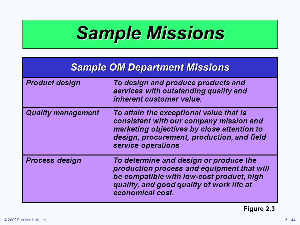 Sample OM Department Missions