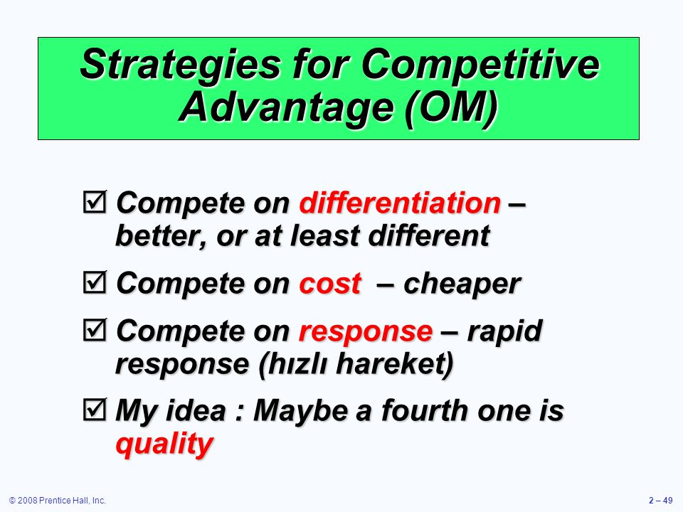 Strategies for Competitive Advantage (OM)