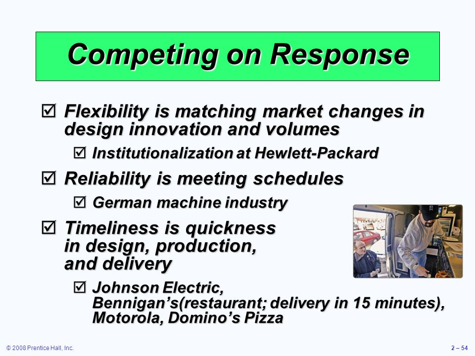 Competing on Response Flexibility is matching market changes in design innovation and volumes. Institutionalization at Hewlett-Packard.