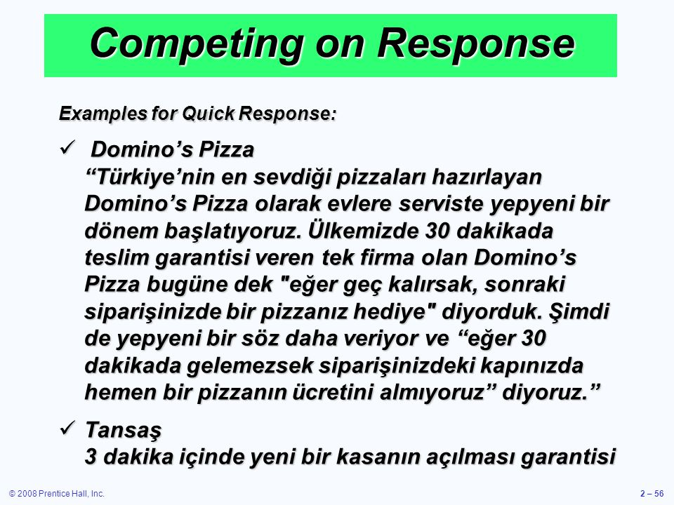 Competing on Response Examples for Quick Response: