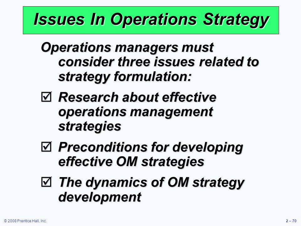 Issues In Operations Strategy
