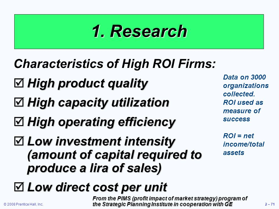 1. Research Characteristics of High ROI Firms: High product quality