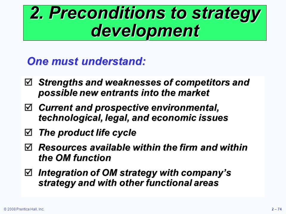 2. Preconditions to strategy development