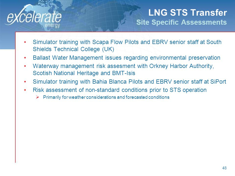 LNG STS Transfer Site Specific Assessments