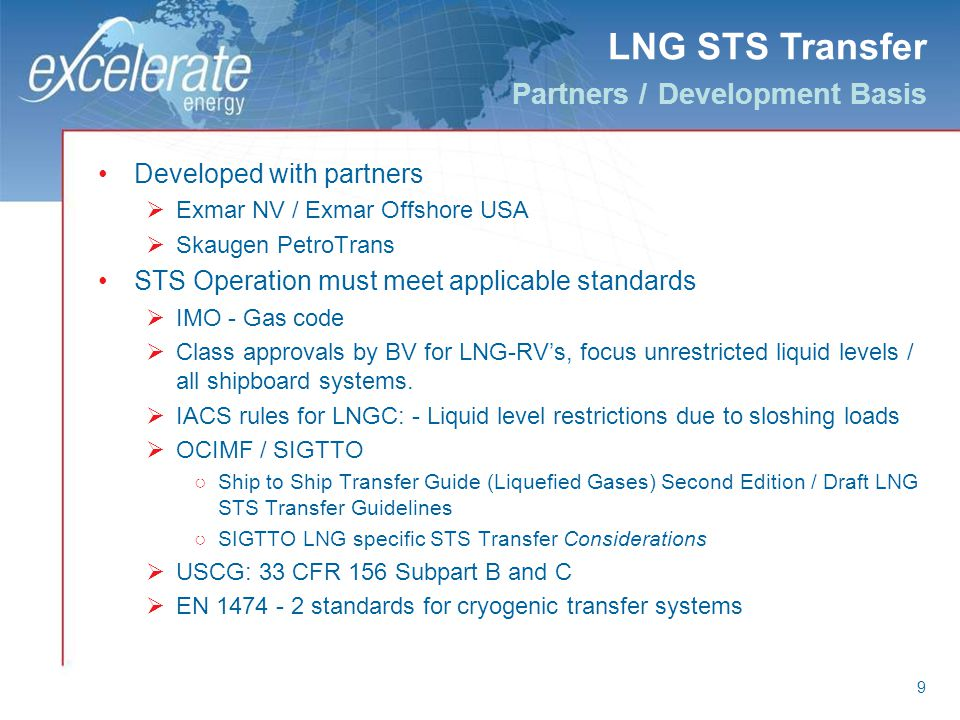 LNG STS Transfer Partners / Development Basis