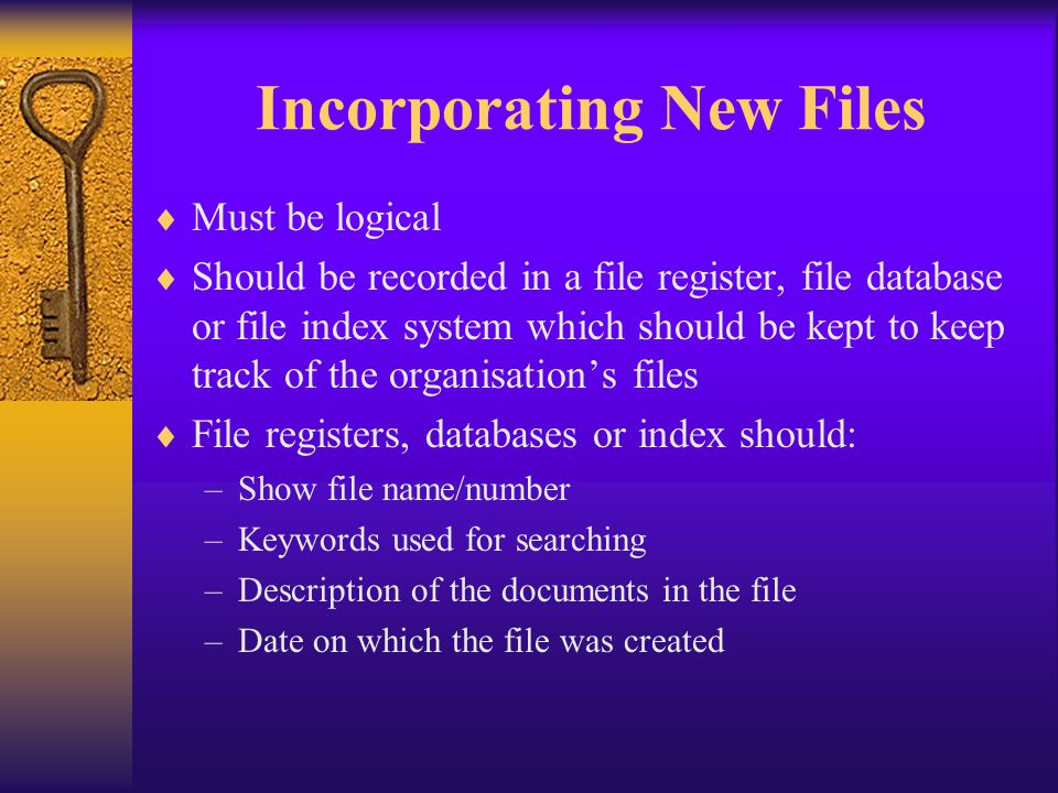 Incorporating New Files