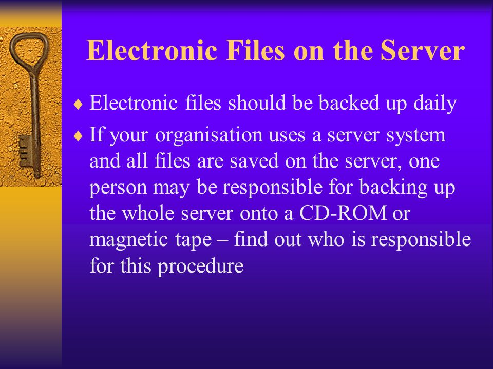 Electronic Files on the Server