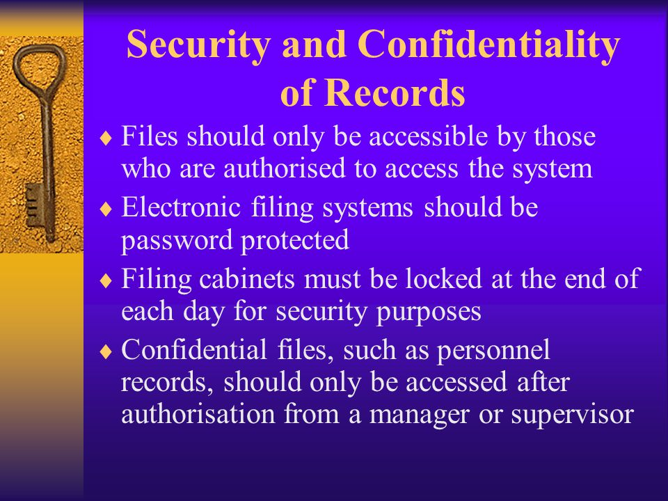 Security and Confidentiality of Records