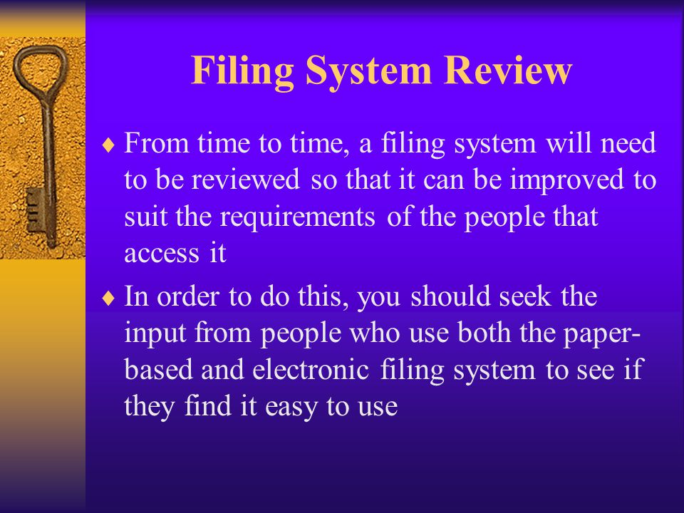 Filing System Review