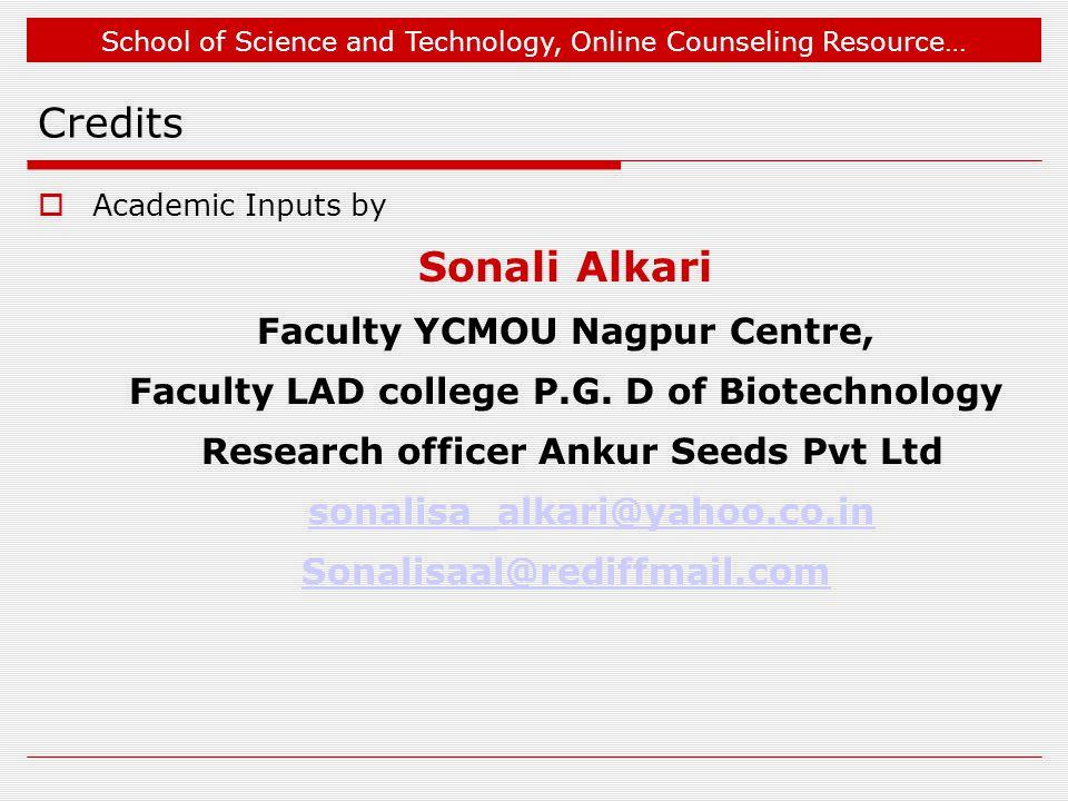 Credits Sonali Alkari Faculty YCMOU Nagpur Centre,