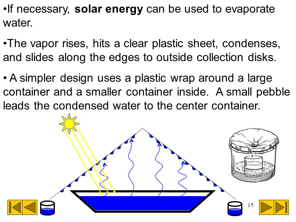 If necessary, solar energy can be used to evaporate water.