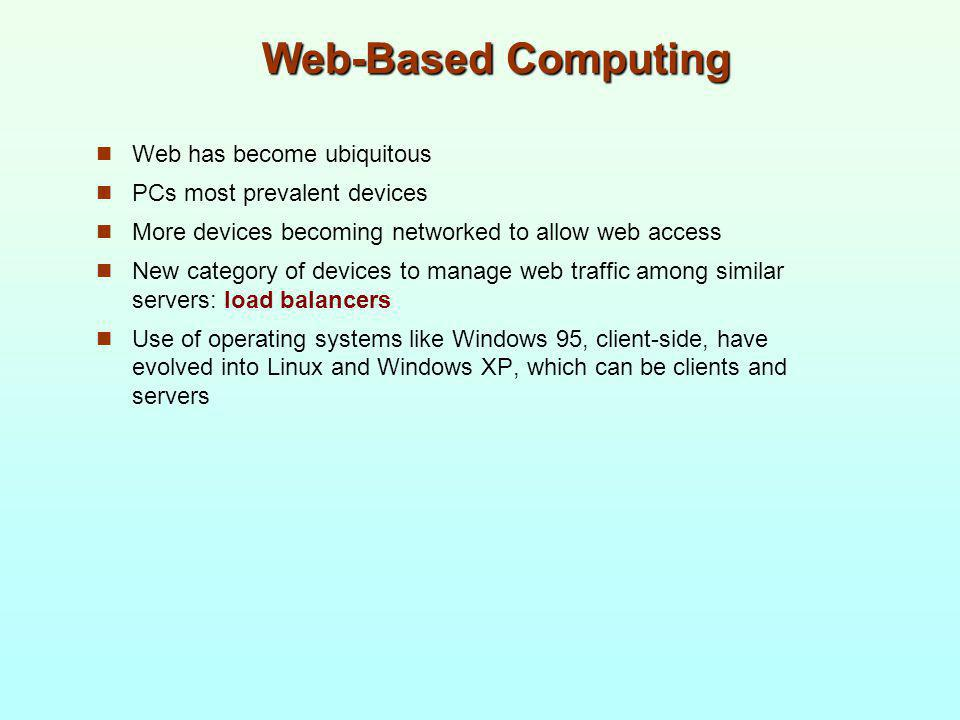 Web-Based Computing Web has become ubiquitous