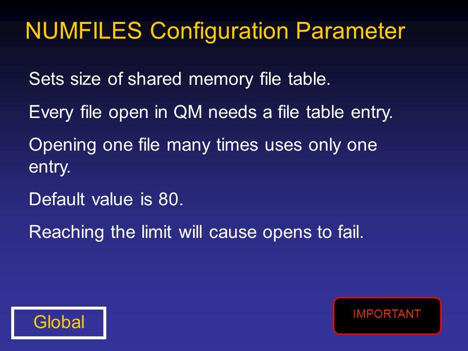 NUMFILES Configuration Parameter