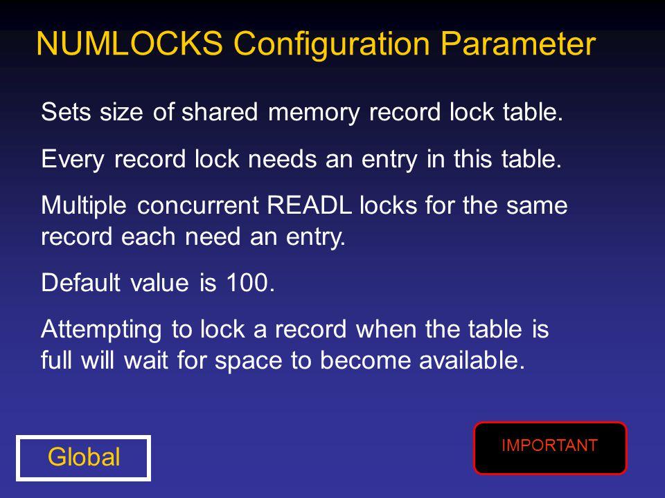 NUMLOCKS Configuration Parameter