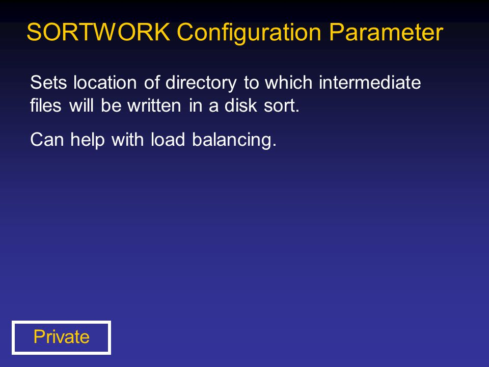 SORTWORK Configuration Parameter
