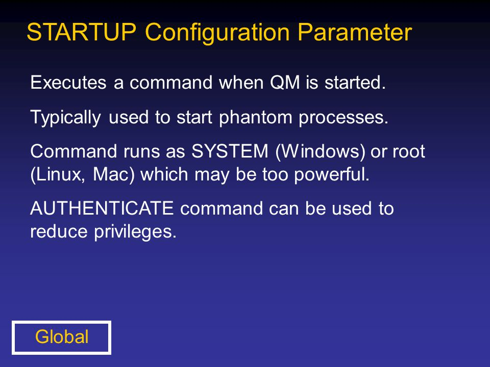 STARTUP Configuration Parameter