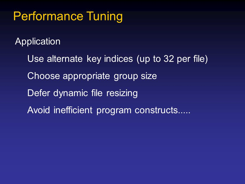 Performance Tuning Application