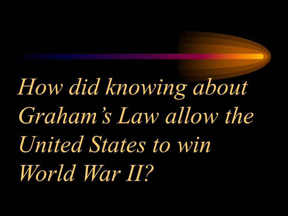 How did knowing about Graham's Law allow the United States to win World War II