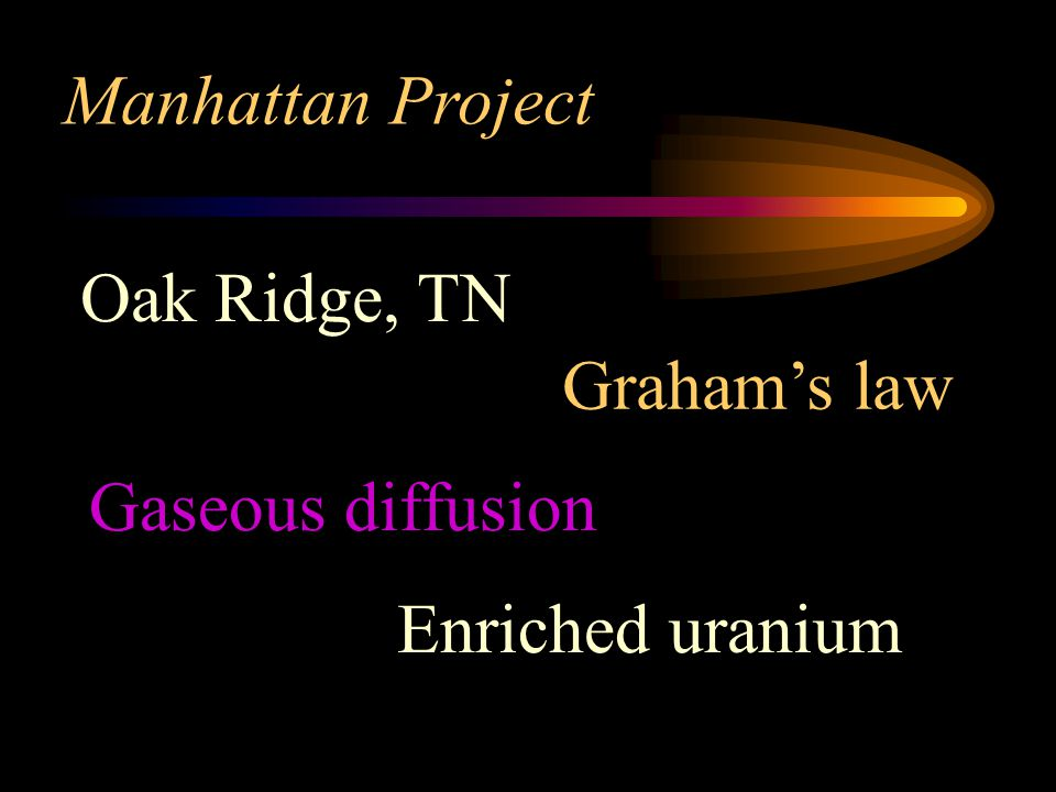 Manhattan Project Oak Ridge, TN Graham's law Gaseous diffusion Enriched uranium