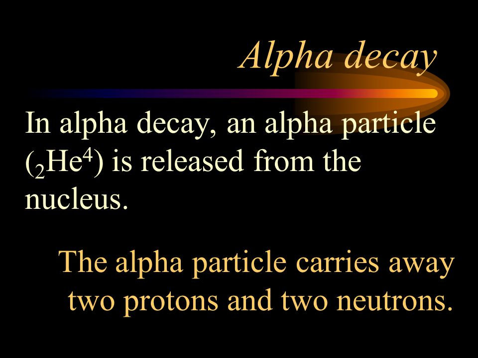 Alpha decay In alpha decay, an alpha particle (2He4) is released from the nucleus.