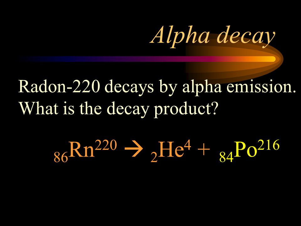 Alpha decay Radon-220 decays by alpha emission. What is the decay product 86Rn220  2He4 +