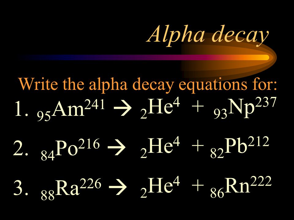 Alpha decay 2He4 + 93Np237 95Am241  2He4 + 82Pb212 84Po216 