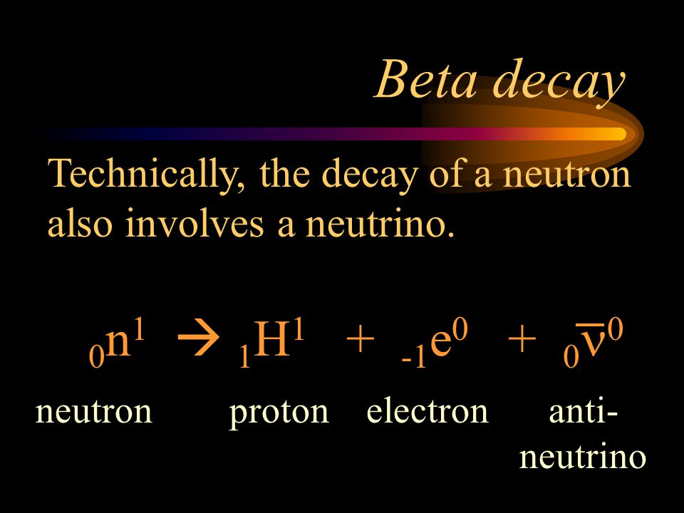 Beta decay Technically, the decay of a neutron also involves a neutrino. 0n1  1H1 + -1e0 + 0n0.
