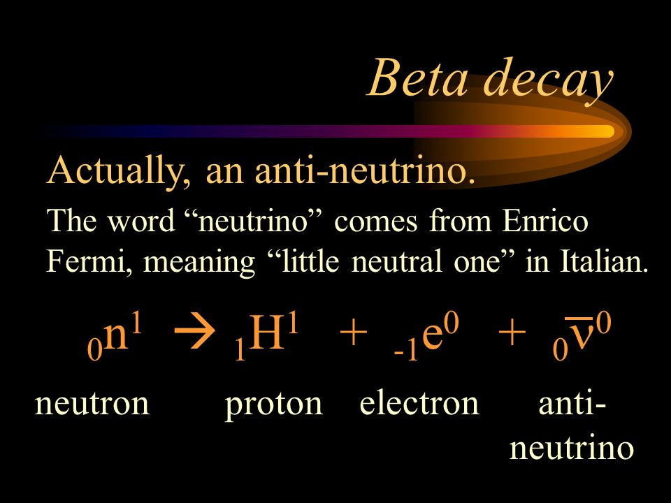 Beta decay 0n1  1H1 + -1e0 + 0n0 Actually, an anti-neutrino. neutron