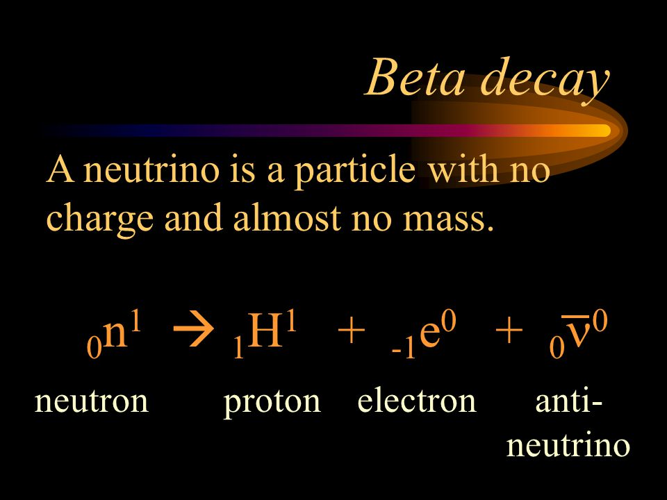 Beta decay A neutrino is a particle with no charge and almost no mass. 0n1  1H1 + -1e0 + 0n0.