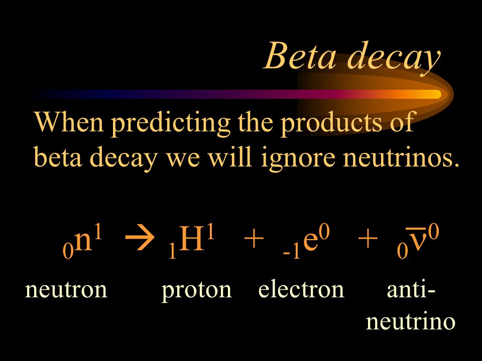 Beta decay When predicting the products of beta decay we will ignore neutrinos. 0n1  1H1 + -1e0 + 0n0.