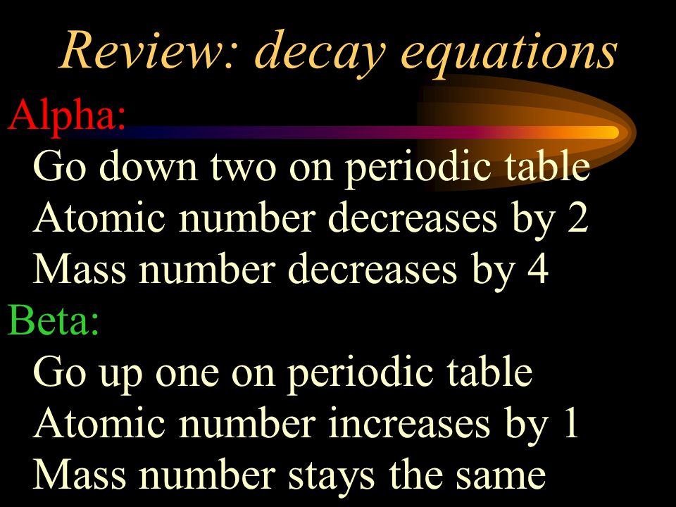 Review: decay equations