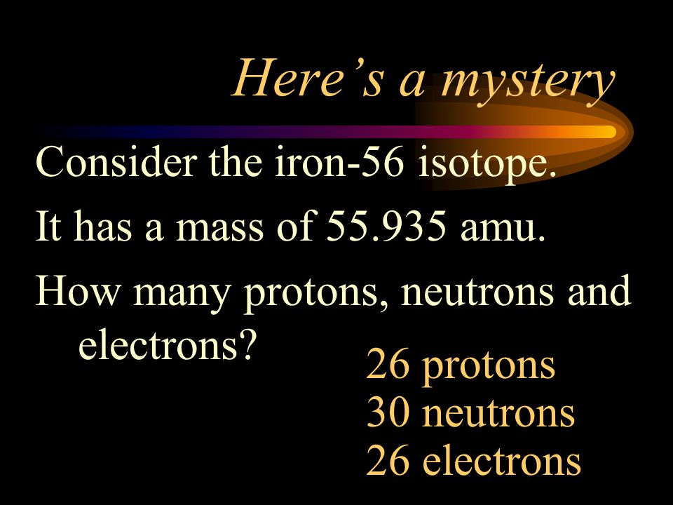 Here's a mystery Consider the iron-56 isotope.