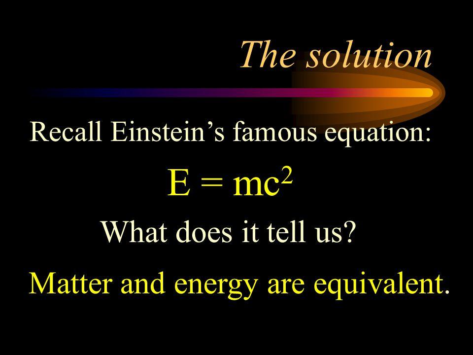 Recall Einstein's famous equation: