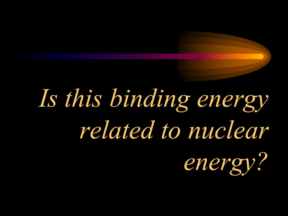 Is this binding energy related to nuclear energy