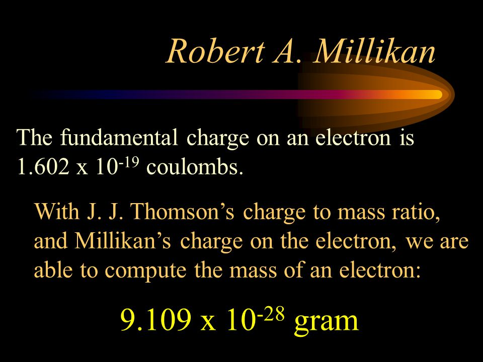 Robert A. Millikan 9.109 x 10-28 gram