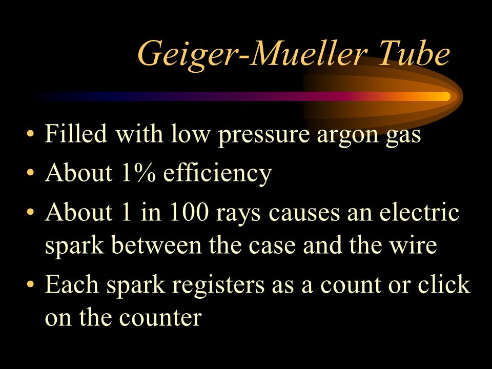 Geiger-Mueller Tube Filled with low pressure argon gas