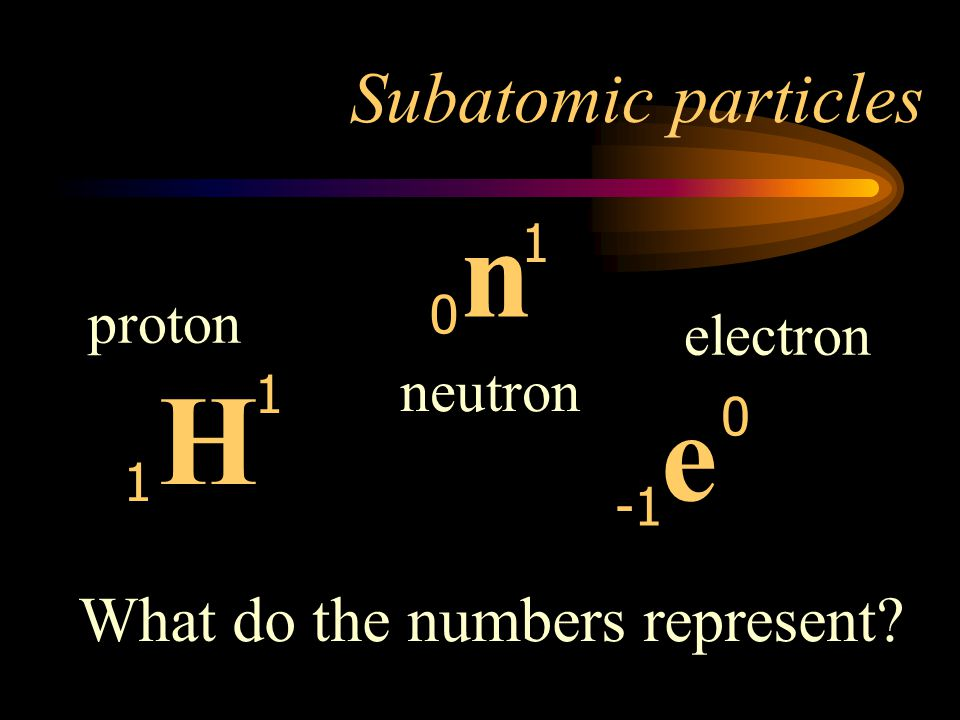 n H e Subatomic particles What do the numbers represent proton