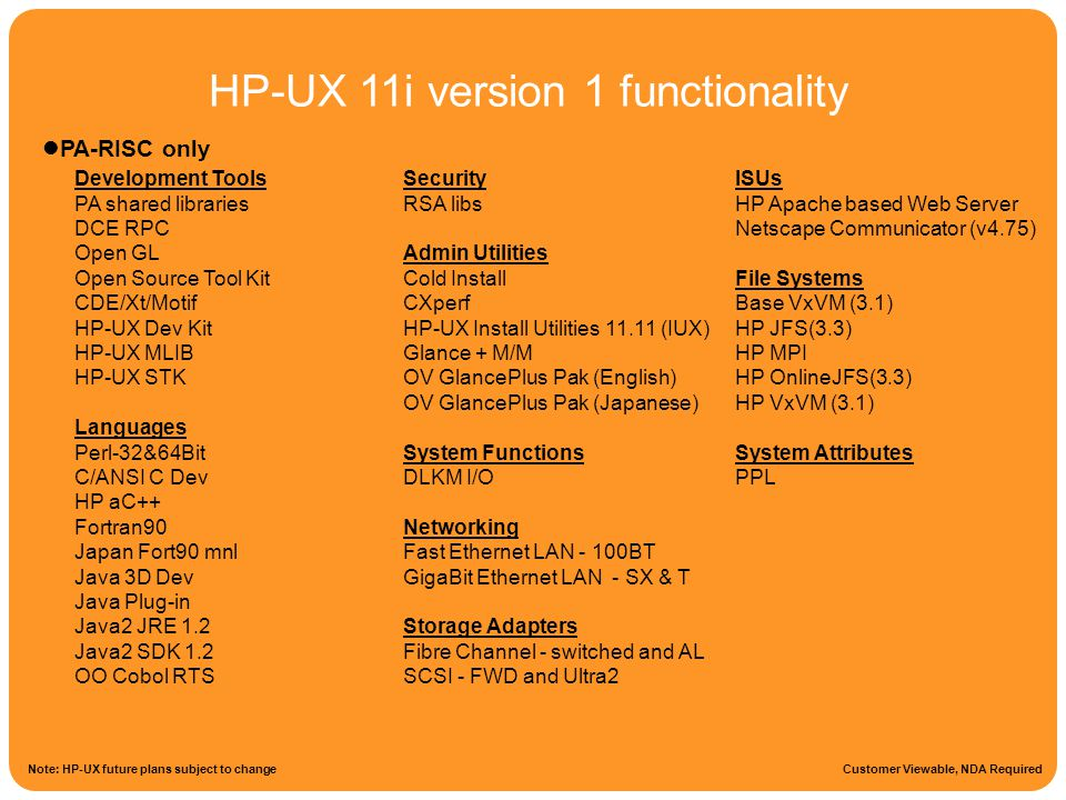 HP-UX 11i version 1 functionality