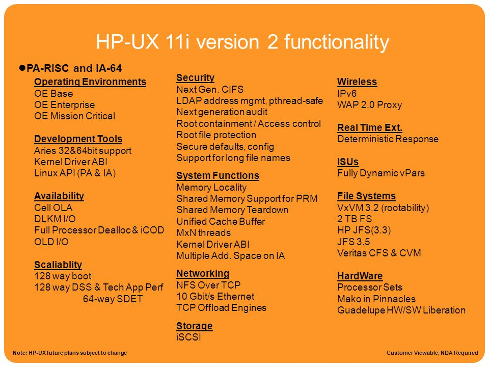 HP-UX 11i version 2 functionality