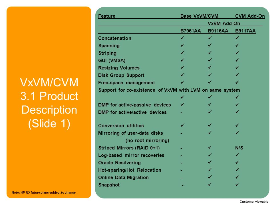 VxVM/CVM 3.1 Product Description (Slide 1)