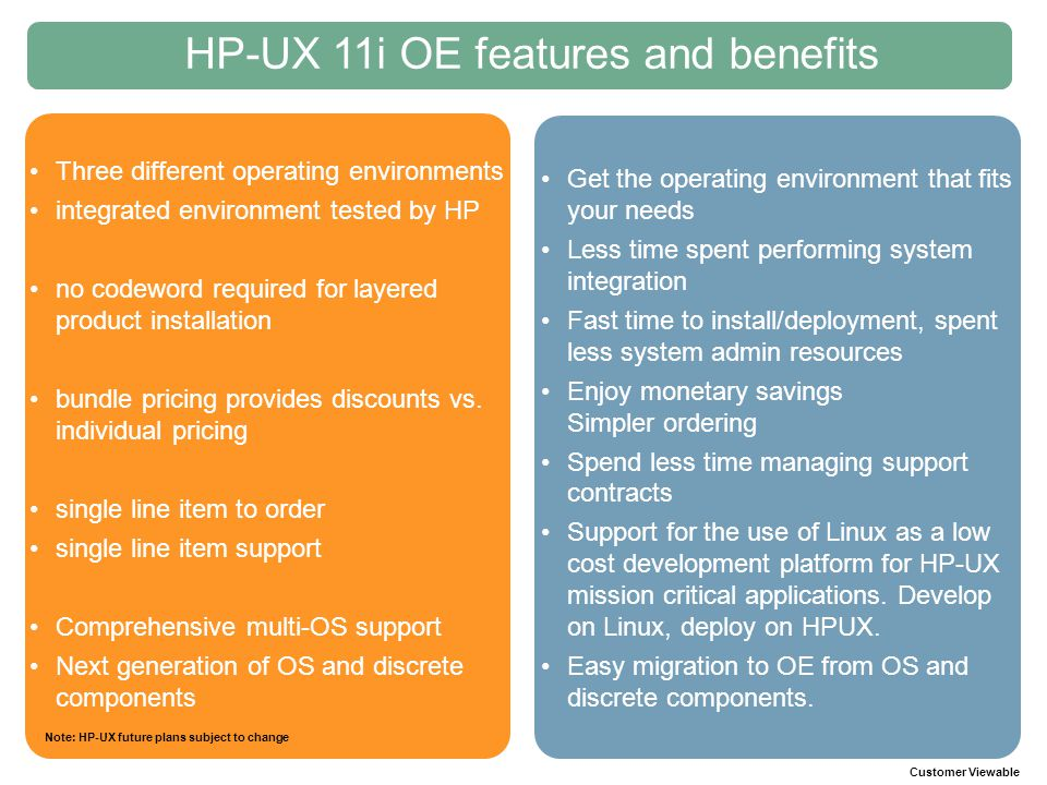HP-UX 11i OE features and benefits